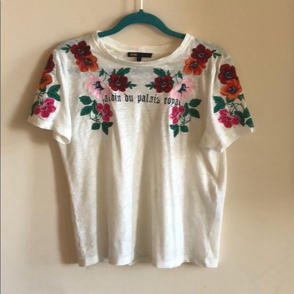 d88dda753 Maje Tops   Tanisha Linen Flower Embroidery Detail T   Poshmark